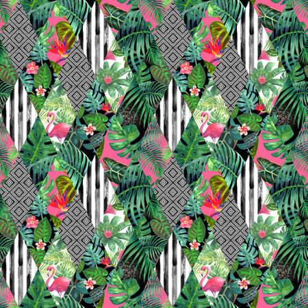 Trendy imitation sewn pieces of fabric in patchwork style. Watercolor hand drawn modern seamless pattern. Collage texture with tropical prints. Print for fashion, textile, wallpaper, wrapping paper.