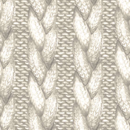 White beige gray realistic knitted seamless pattern. Watercolor hand paint knit texture background with purl loops and plait. Hand knitting. Watercolor winter cozy warm print for wrapping, wallpaper.