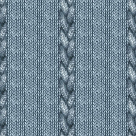 Blue navy realistic knitted seamless pattern. Watercolor hand paint knit texture background with facial loops and plait. Hand knitting. Watercolor winter cozy warm print for wrapping, wallpaper.