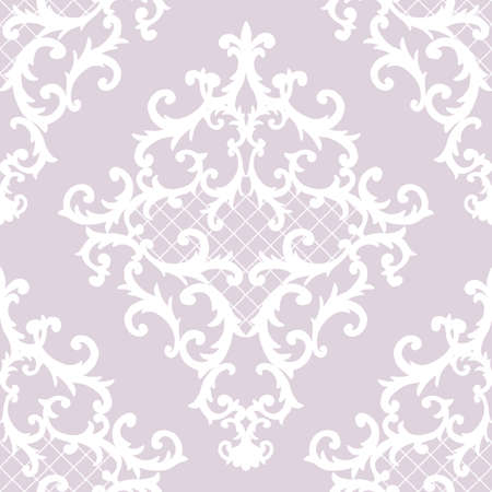 Seamless baroque style damask ornamental pattern. Hand drawn white texture on pastel pink background. Contemporary and retro design print for fabric, textile, wallpaper, wrapping paper, packaging.
