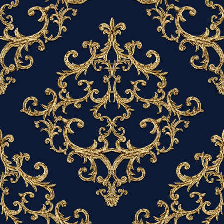 Baroque golden elements seamless pattern. Gold texture on dark indigo blue navy background. Watercolor vintage design print for fabric, textile, wallpaper, wrapping paper, packaging.