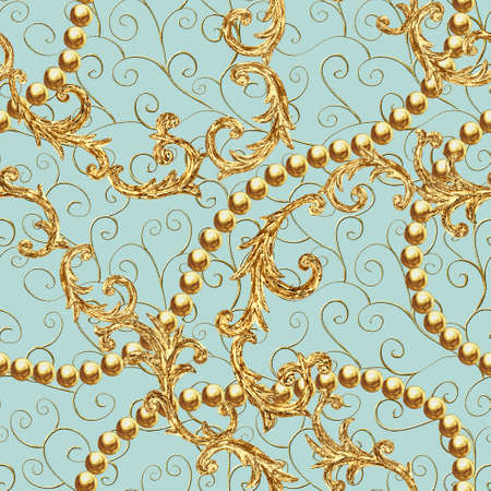 Rococo golden elements seamless pattern. Gold texture on pastel mint green color background. Watercolor vintage design print for fabric, textile, wallpaper, wrapping paper, packaging.