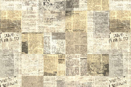 Newspaper paper grunge aged newsprint pattern background. Vintage old newspapers template texture. Unreadable news horizontal page with place for text, images. Yellow beige brown color art collage. 写真素材 - 166844590