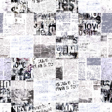 Newspaper paper grunge newsprint patchwork seamless pattern background. Trendy imitation sewn pieces of newspapers in patchwork style. Black white art collage. Print for textile, wallpaper, wrapping 写真素材