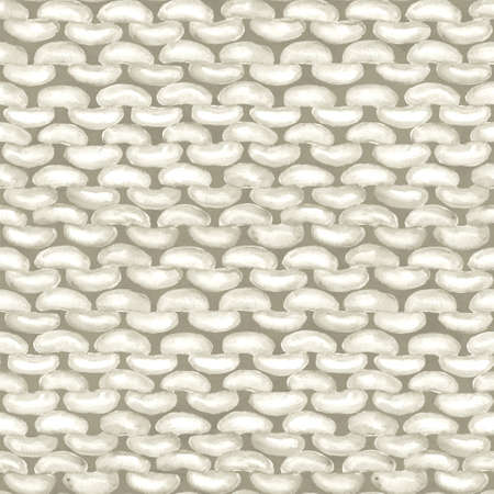 White realistic knitted seamless pattern. Watercolor hand paint knit texture background with purl loops. Hand knitting. Watercolor winter cozy warm print for wrapping paper, wallpaper, textile 写真素材 - 167093908