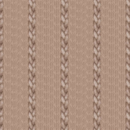 Beige brown realistic knitted seamless pattern. Watercolor hand paint knit texture background with facial loops and plait. Hand knitting. Watercolor winter cozy warm print for wrapping, wallpaper.