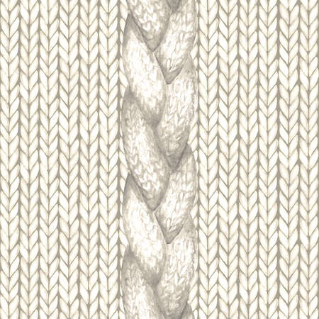White realistic knitted seamless pattern. Watercolor hand paint knit texture background with facial loops and plait. Hand knitting. Watercolor winter cozy warm print for wrapping, wallpaper.