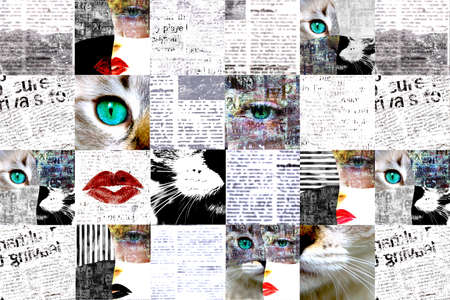 Newspaper paper grunge aged newsprint pattern background. Vintage old newspapers template texture. Unreadable news about catwoman on horizontal page. Black gray white red color art collage. 写真素材