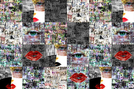 Newspaper paper grunge aged newsprint pattern background. Newspapers template texture. Unreadable news horizontal page with articles, woman face, eyes, lipps. Black gray white red color art collage.