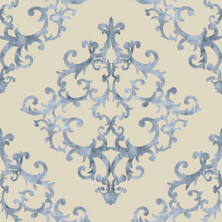 Seamless baroque style damask ornamental pattern. Hand drawn watercolor blue texture on beige background. Contemporary and retro design print for fabric, textile, wallpaper, wrapping paper, packaging.