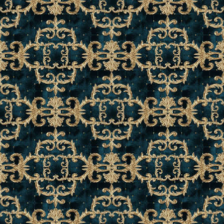 Baroque golden elements seamless pattern. Gold texture on dark teal green background with velvet effect. Watercolor vintage design print for fabric, textile, wallpaper, wrapping paper, packaging.