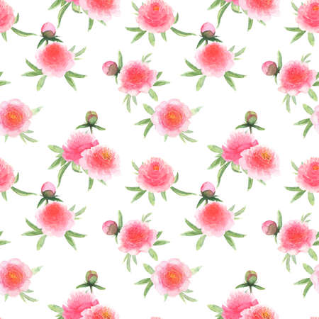 Watercolor pink peonies flowers. Beautiful peony floral seamless pattern. Watercolor hand drawn spring botanical illustration on white background. Print for textile, fabric, wallpaper, wrapping paper