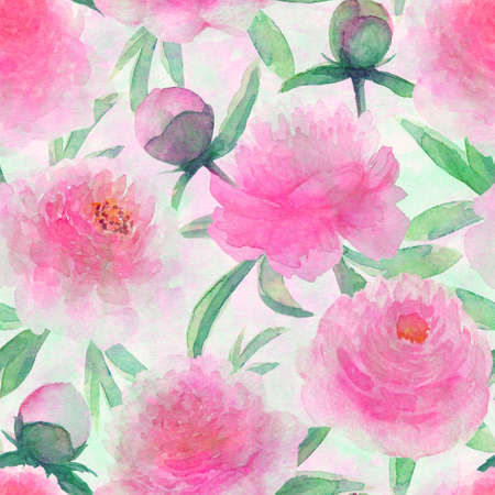Watercolor pink peonies flowers. Beautiful peony floral seamless pattern. Watercolor hand drawn spring botanical illustration background. Print for textile, fabric, wallpaper, wrapping paper.