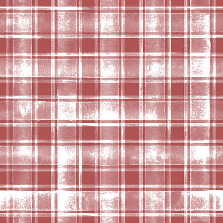 Watercolor grunge shabby chic stripe plaid seamless pattern. Red stripes on white background. Watercolor hand drawn striped texture. Print for cloth design, textile, wallpaper, wrapping, tile 写真素材