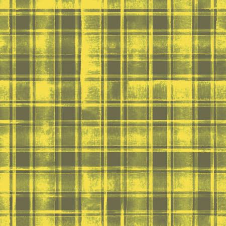 Watercolor grunge shabby chic stripe plaid seamless pattern. Gray gray stripes on yellow background. Watercolor hand drawn striped texture. Print for cloth design, textile, wallpaper, wrapping, tile