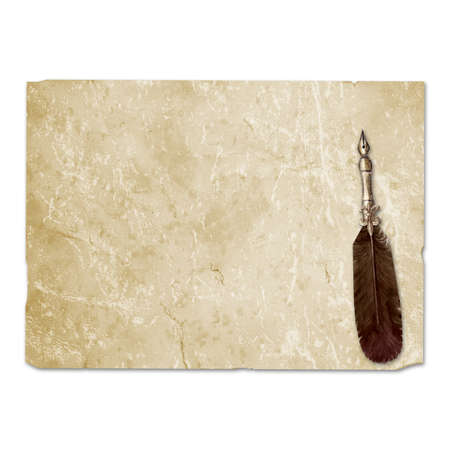 Vintage style fountain feathers pen with sheets of old aged yellow brown faded paper isolated on white background. Watercolor hand drawn old-fashioned illustration. Space for text.