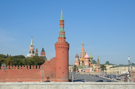 Moscow, Russia. View of the Kremlin, Vasilevsky descent and St. Basils Cathedral