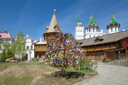 snaps: MOSCOW, RUSSIA - MAY 7, 2015: Love tree with snaps on the territory of Izmailovo Kremlin