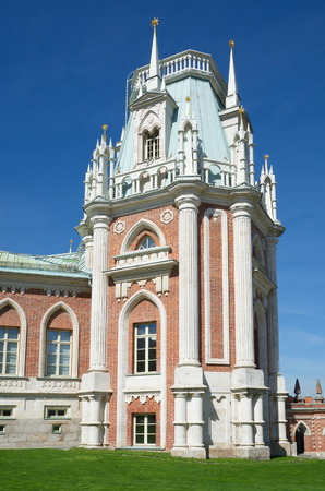 tsaritsyno: MOSCOW, RUSSIA - MAY 7, 2015: Museum-reserve Tsaritsyno, the tower of the Great Palace