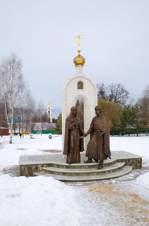 pious: Dmitrov, Moscow region - February 7, 2016: The Monument to the Holy pious Prince Peter and Princess Fevronia of Murom Editorial