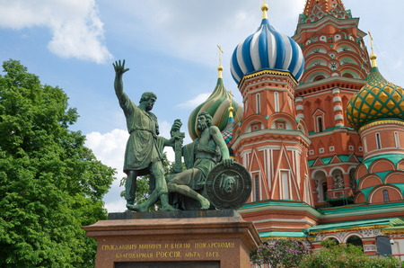 minin: Moscow, Russia - may 27, 2016: The Monument to Minin and Pozharsky on Red square near St. Basils Cathedral