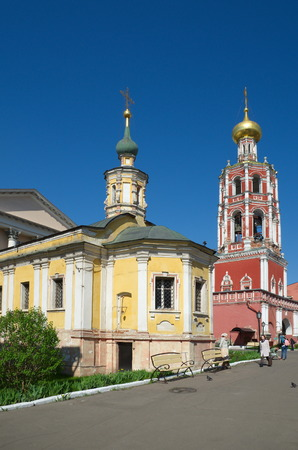 petrovka: Moscow, Russia - may 6, 2016: Vysoko-Petrovsky monastery in Moscow. The bell tower with the Church of the Intercession of the blessed virgin Mary and the Church of the Tolga icon of the Mother of God Editorial