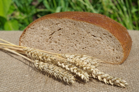 black bread: Ears of rye and black bread Stock Photo