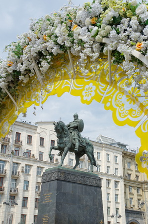 yuri: Moscow, Russia - may 27, 2016: The monument to the founder of the city of Moscow Prince Yuri Dolgoruky in the celebration of the festival Moscow spring