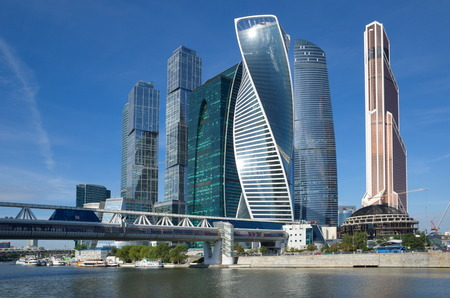 federation: Moscow, Russia - August 26, 2016: Tower of the business center Moscow-city and the bridge Bagration
