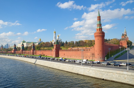 Autumn view of the Moscow Kremlin and Kremlevskaya embankment, Russia