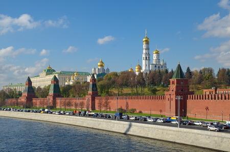Autumn view of the Moscow Kremlin and Kremlevskaya embankment, Russia