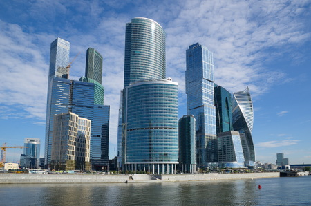 Moscow, Russia - August 26, 2016: Tower of the Moscow international business center Moscow-city