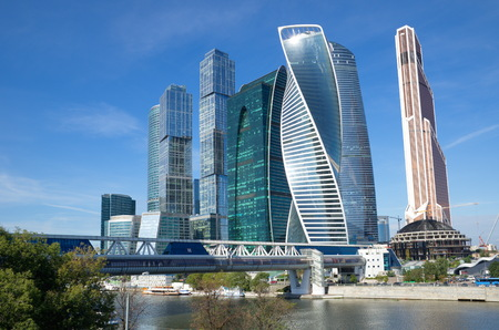 premises: Moscow, Russia - August 26, 2016: Tower of the Moscow international business center Moscow-city and trade-pedestrian bridge Bagration Editorial