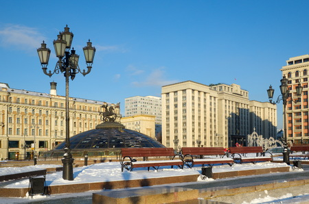 Moscow, Russia - December 16: Winter view of the Manege square