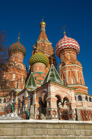 The Cathedral of the Intercession of the blessed virgin on the Moat, Temple of Basil the blessed, on Red square Stock Photo
