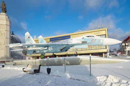 enea: Moscow, Russia - January 18, 2017: Military fighter SU-27 at ENEA