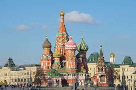 Cathedral of the Intercession of the blessed virgin on the Moat (St. Basils Cathedral) on Red square in Moscow, Russia