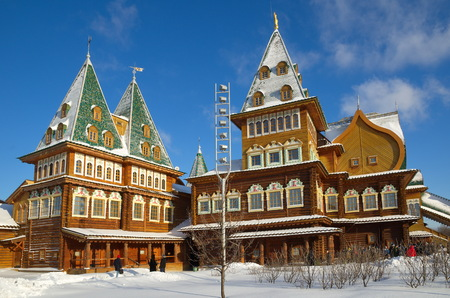 Moscow, Russia - January 25, 2017: The Palace of Tsar Alexei Mikhailovich in Kolomenskoye in winter day