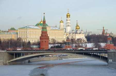 Winter view of the Kremlin, Big Stone bridge and the Moscow river, Russia