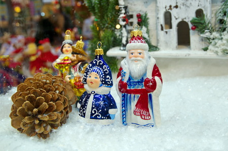 grandfather frost: Christmas arrangement of Christmas igrushek in Gum, Moscow, Russia