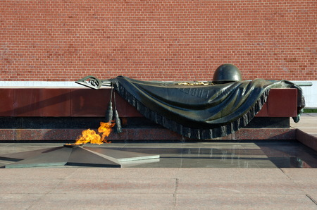 Moscow, Russia - October 24, 2016: Tomb of the Unknown Soldier at the Kremlin. The Eternal Flame burns in memory of Soviet soldiers Editorial