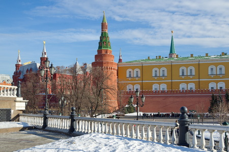 View of the Historical Museum and the Arsenal tower of the Moscow Kremlin from the Manezh square, Moscow, Russia