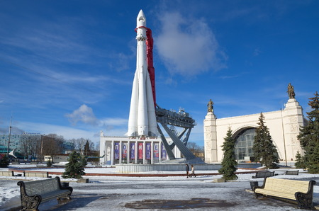Moscow, Russia - February 25, 2017: A Copy of a space rocket Vostok at the pavilion Space at VDNKH