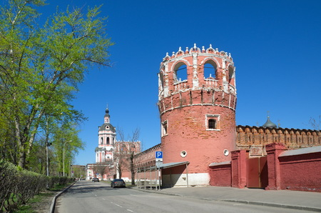 Donskoy monastery in Moscow, Russia. View of the bell tower with the Church of the righteous Zechariah and Elizabeth and towers