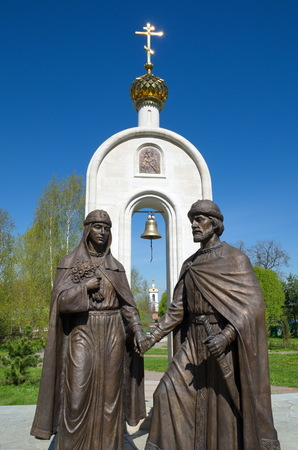 Dmitrov, Moscow region, Russia - may 15, 2017: The Monument to the Holy pious Prince Peter and Princess Fevronia of Murom