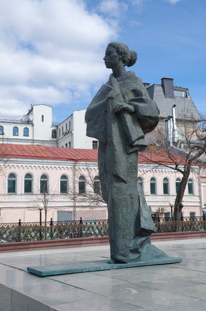 Moscow, Russia - April 20, 2017: The Monument to NK Krupskaya on Sretensky Boulevard Sajtókép