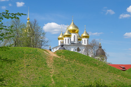 presumption: Spring cityscape with view of the presumption Cathedral of the Dmitrov Kremlin, Dmitrov, Moscow region, Russia