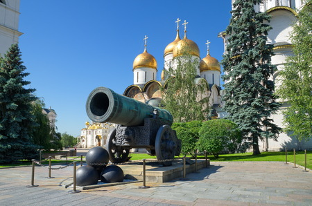 Tsar cannon and the Dormition Cathedral in the Moscow Kremlin, Russia Stock Photo