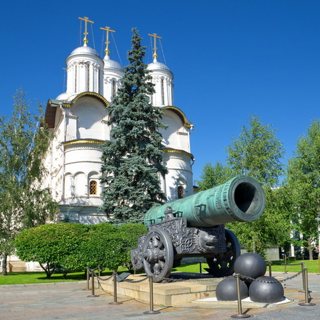 Tsar cannon and the Cathedral of the Twelve Apostles in the Moscow Kremlin, Russia