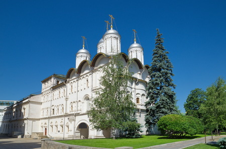 The Patriarchs Palace and Church of the Twelve Apostles in the Cathedral square of the Moscow Kremlin, Moscow, Russia
